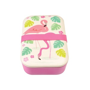Lunchbox bambusowy w stylu vintage flamingo bay  REX LONDON